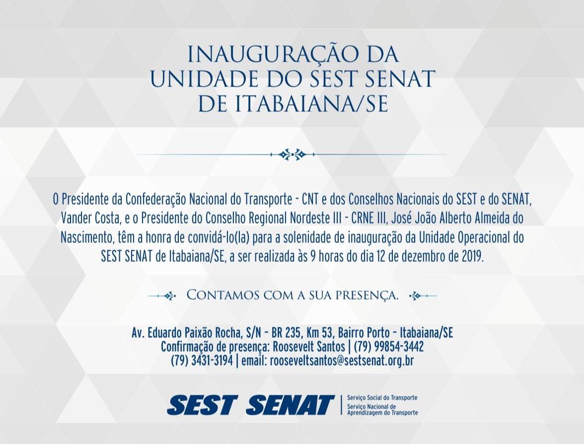 Sest Senat inaugura unidade em Itabaiana dia 12 de dezembro