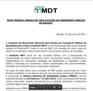 NOTA TÉCNICA: AMEAÇA DO TÁXI-LOTAÇÃO AO TRANSPORTE PÚBLICO  DE MACEIÓ