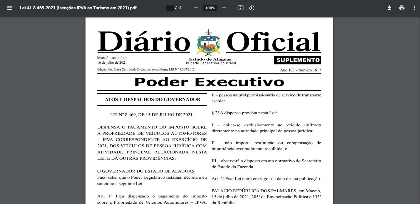 Defesa do Sindifretur: Governo autoriza dispensa do IPVA este ano para o setor turístico